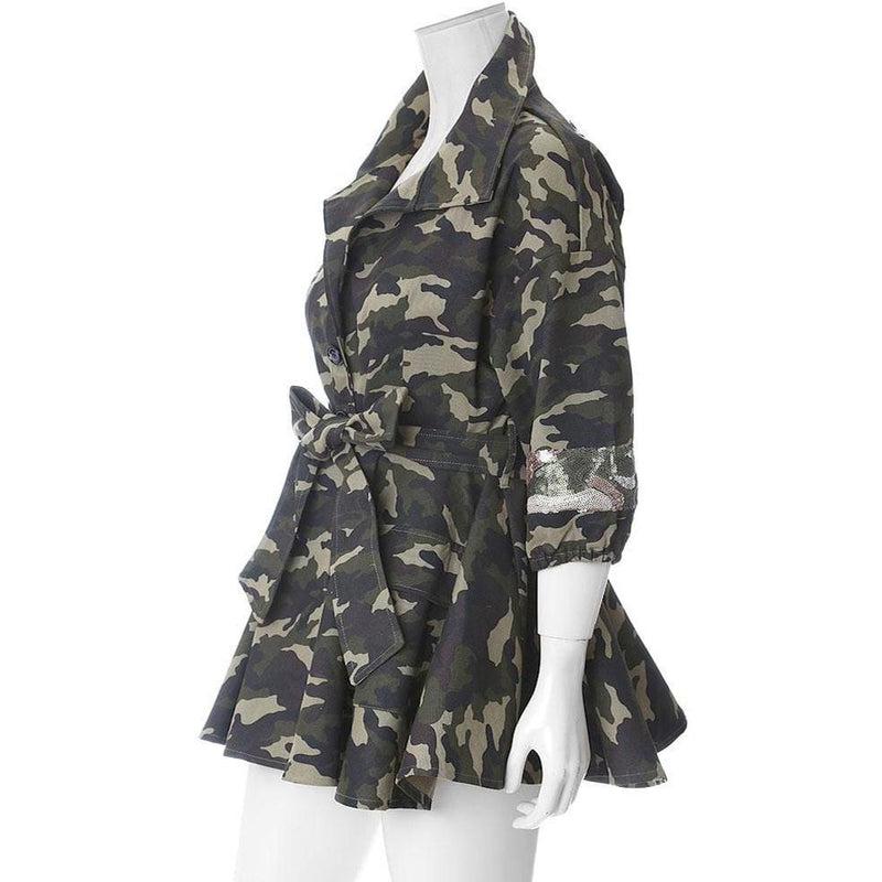 Plus Size Peplum Camo Jacket with Sequins