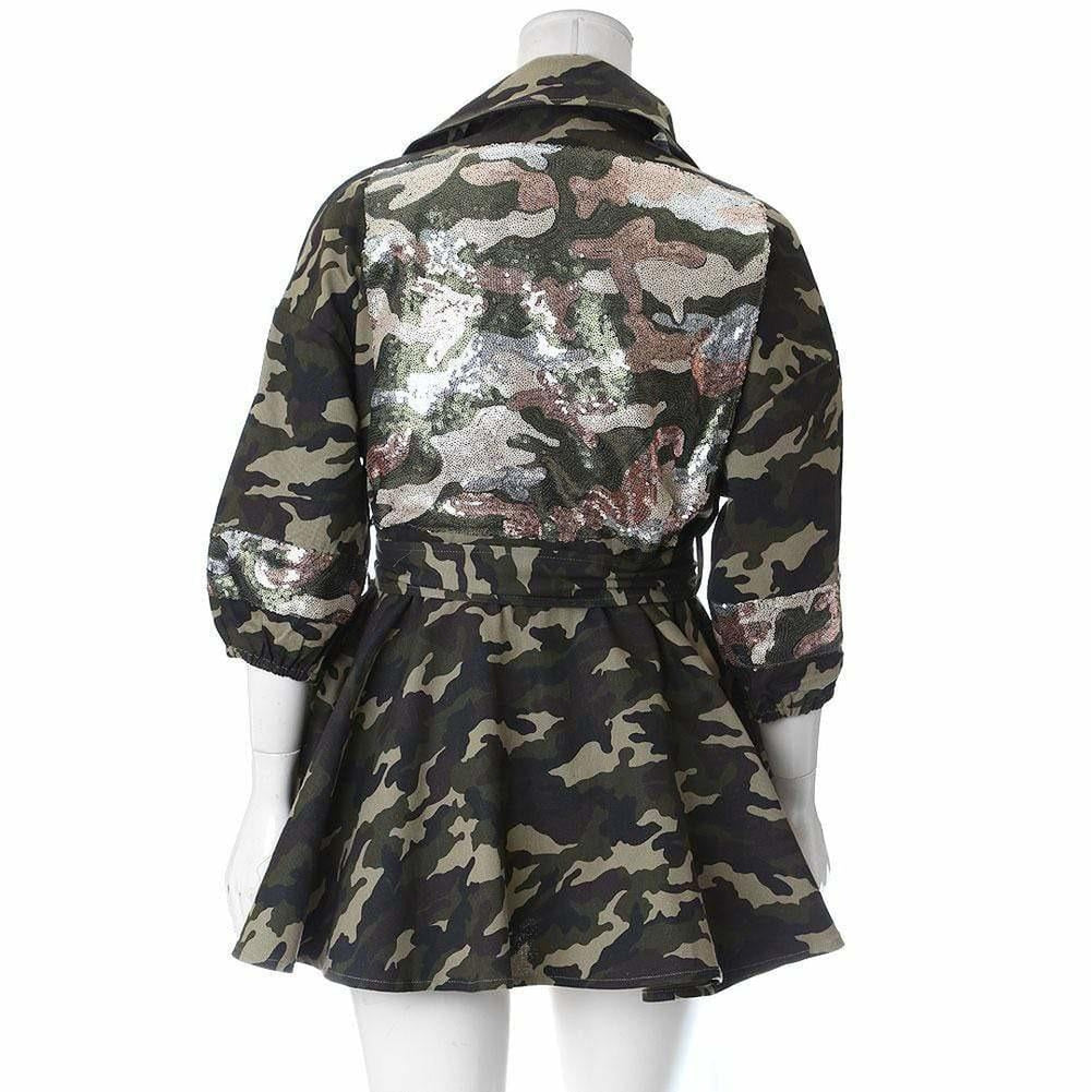 Posh Shoppe: Plus Size Peplum Camo Jacket with Sequins