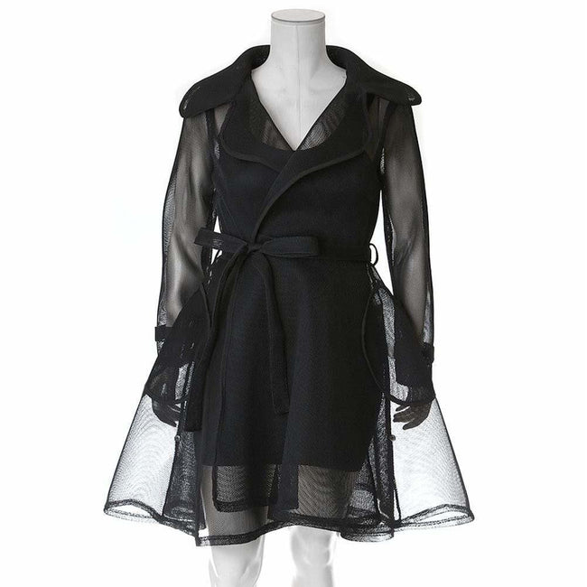 Plus Size Convertible Mesh Trench Coat, Black