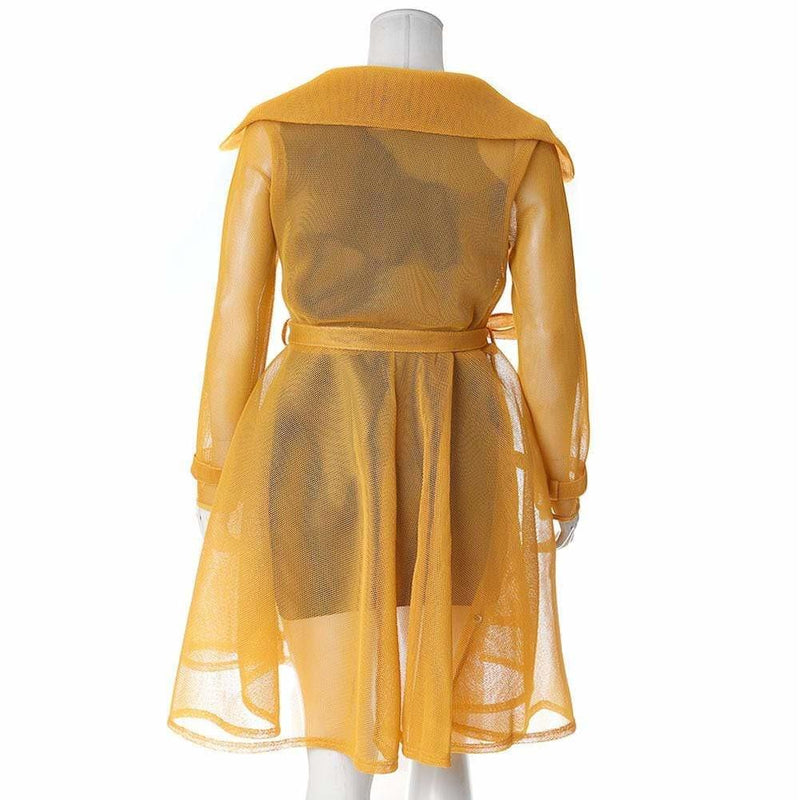 Plus Size Convertible Mesh Trench Coat, Mustard