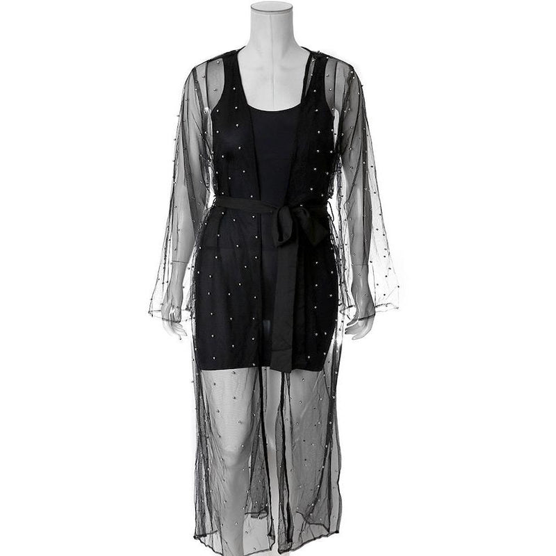 Plus Size Sheer Duster with Pearls