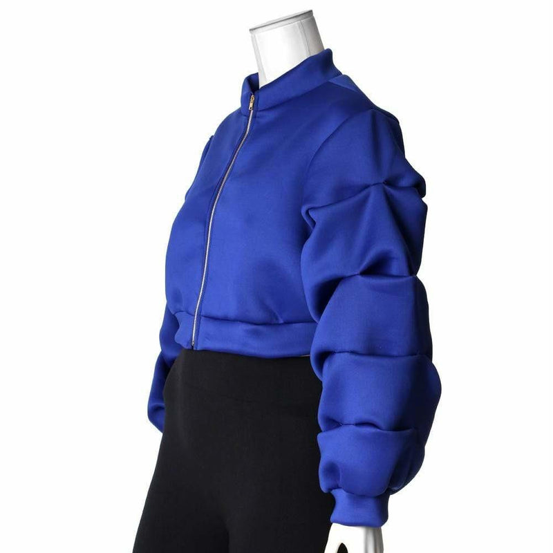 Plus Size Puff Sleeve Cropped Jacket, Blue