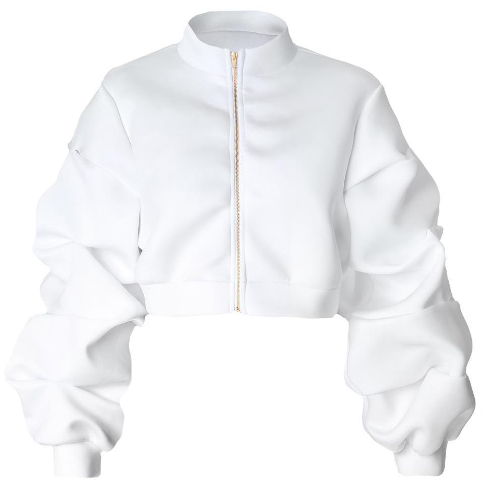 Posh Shoppe: Plus Size Puff Sleeve Cropped Jacket, White Outerwear