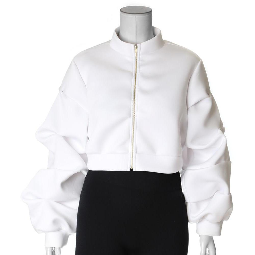 Plus Size Puff Sleeve Cropped Jacket, White