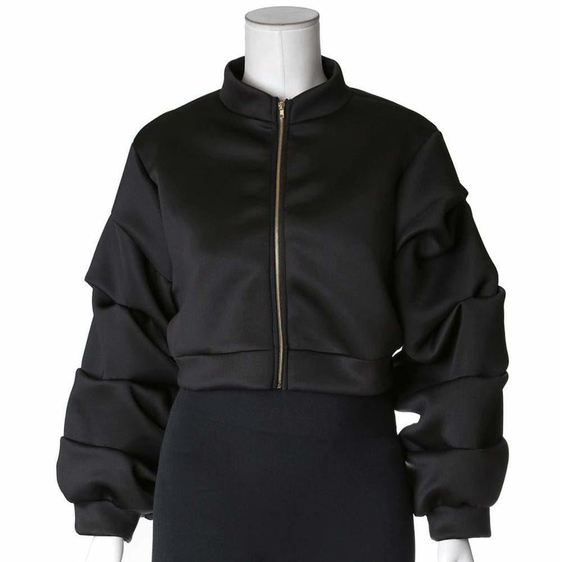 Posh Shoppe: Plus Size Puff Sleeve Cropped Jacket, Black Outerwear