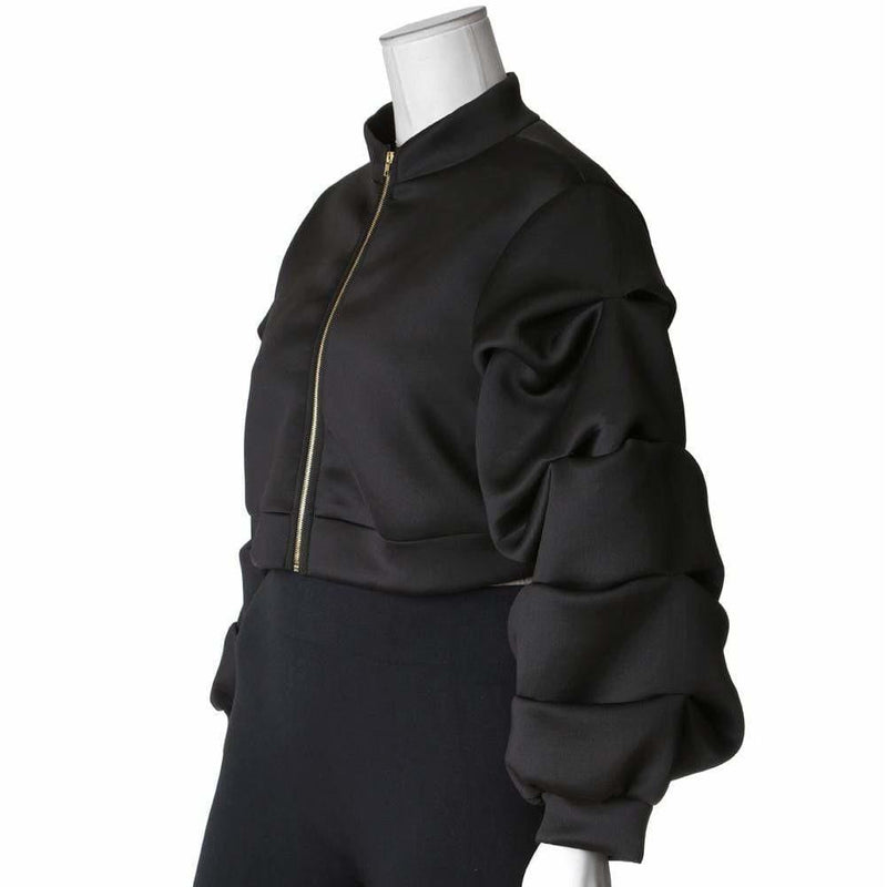 Plus Size Puff Sleeve Cropped Jacket, Black