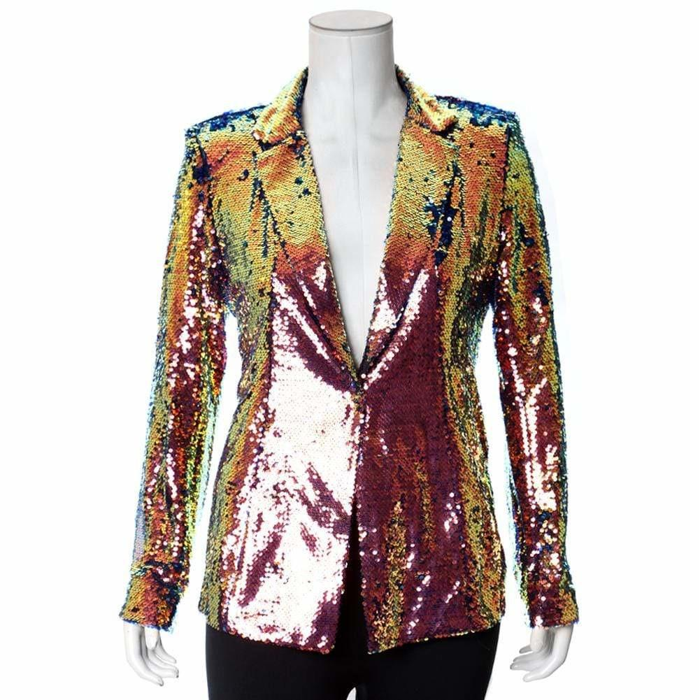 Posh Shoppe: Plus Size Sequin Blazer, Mermaid Pink & Green Outerwear