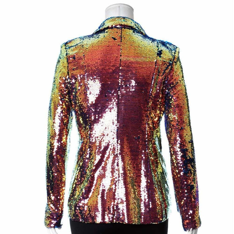 Plus Size Sequin Blazer, Mermaid Pink & Green
