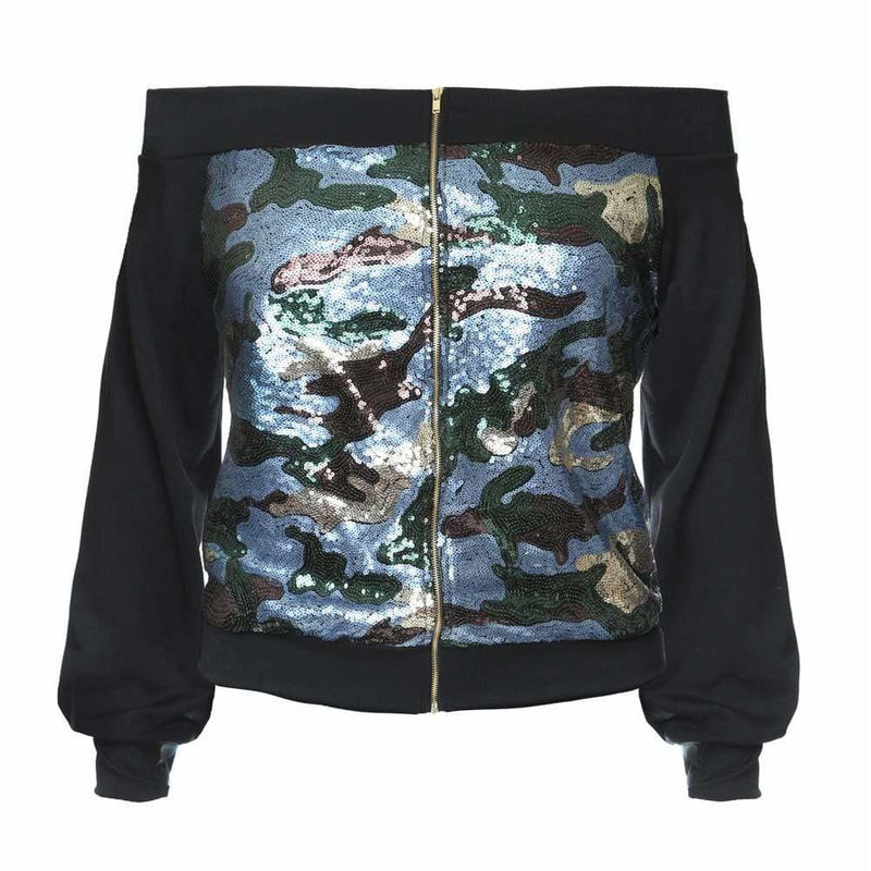 Plus Size Off the Shoulder Sequin Front Jacket, Blue Camo