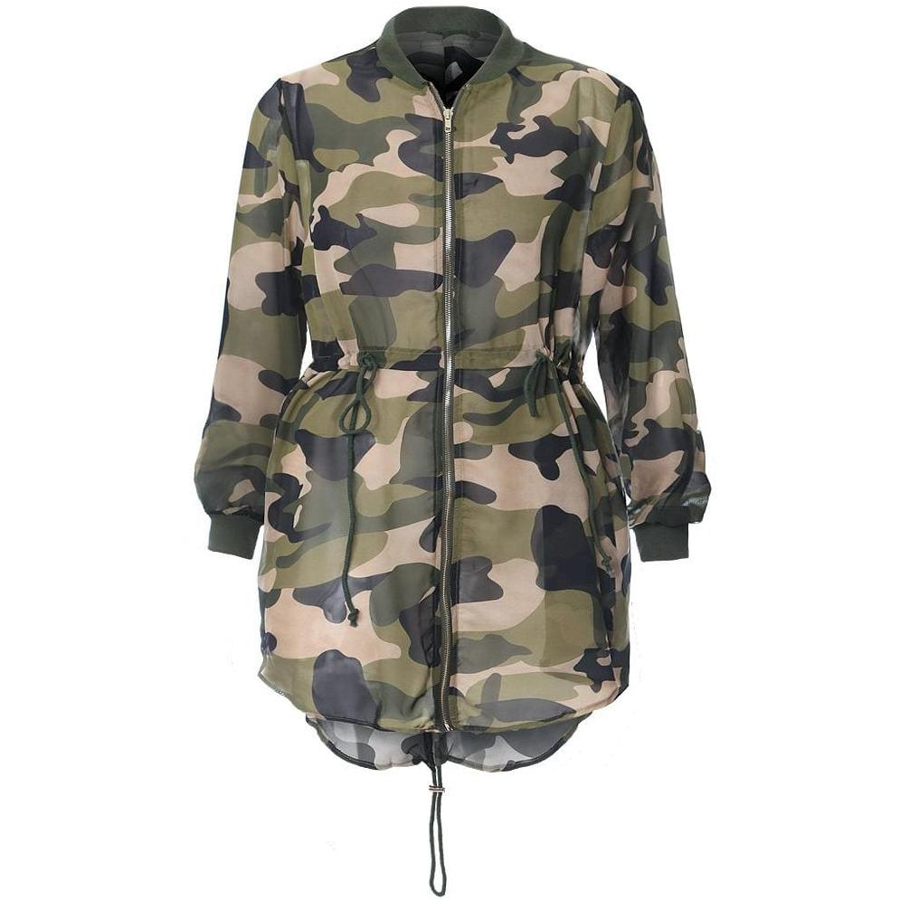 Posh Shoppe: Plus Size Chiffon Camo Jacket Outerwear