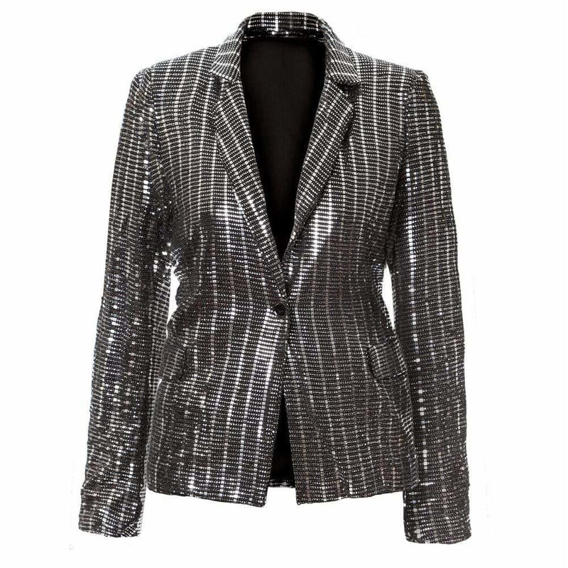 Posh Shoppe: Plus Size Platinum Sequin Blazer Outerwear