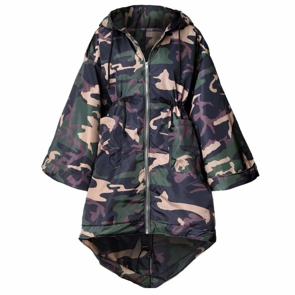 Plus Size Oversized Bell Sleeve Coat, Camo Print