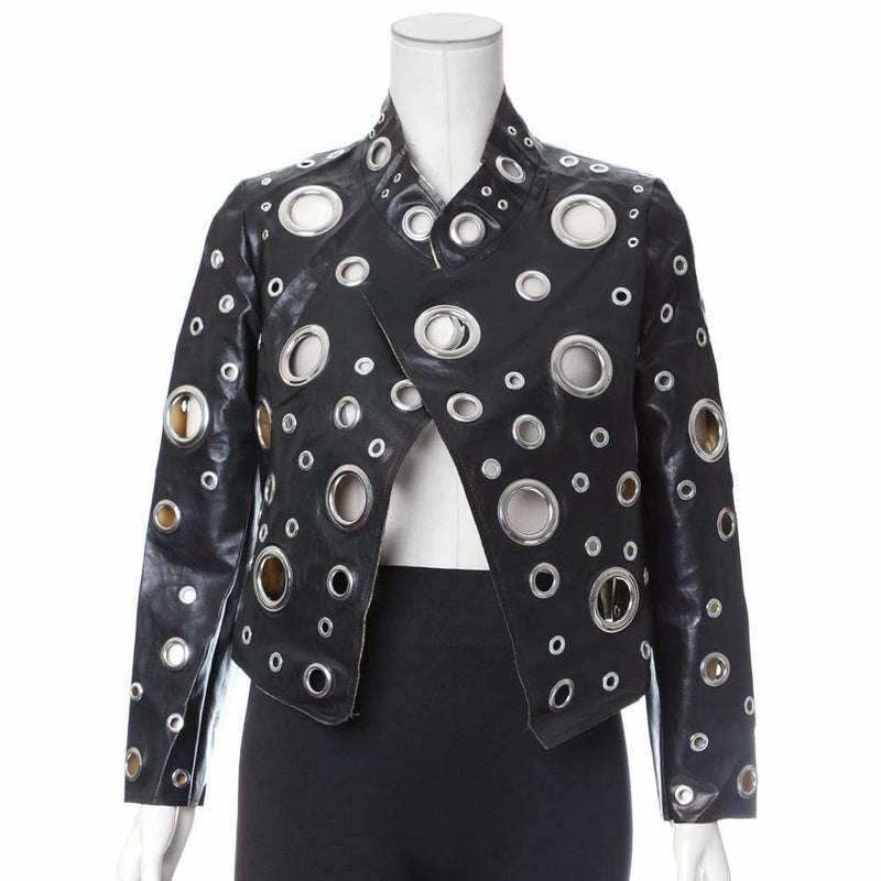 Posh Shoppe: Plus Size Grommet Detail Faux Leather Jacket Outerwear