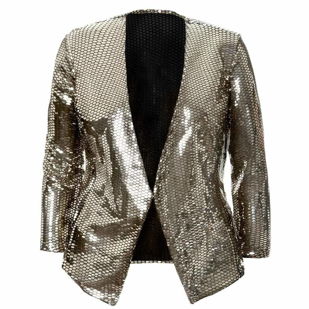Posh Shoppe: Plus Size Gold Mirrored Collarless Blazer Outerwear