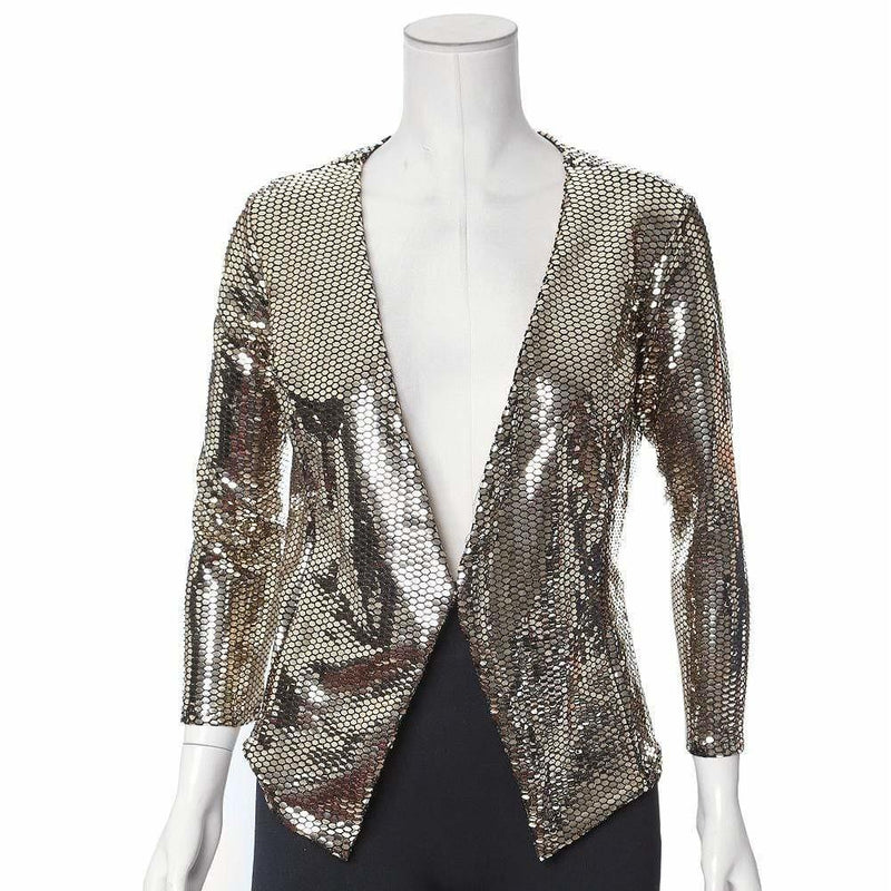 Plus Size Gold Mirrored Collarless Blazer