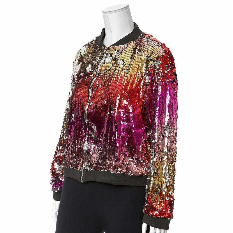 Plus Size Ombre Sequin Bomber Jacket, Red/Pink/Gold