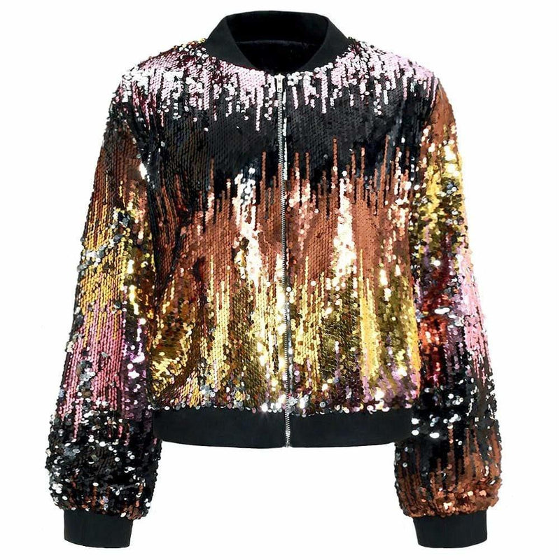 Plus Size Ombre Sequin Bomber Jacket, Black/Rose Gold/Gold