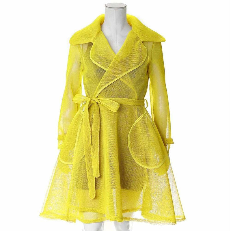 Plus Size Convertible Mesh Trench Coat, Citron