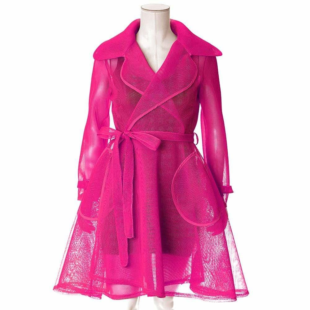 Plus Size Convertible Mesh Trench Coat, Bright Hibiscus