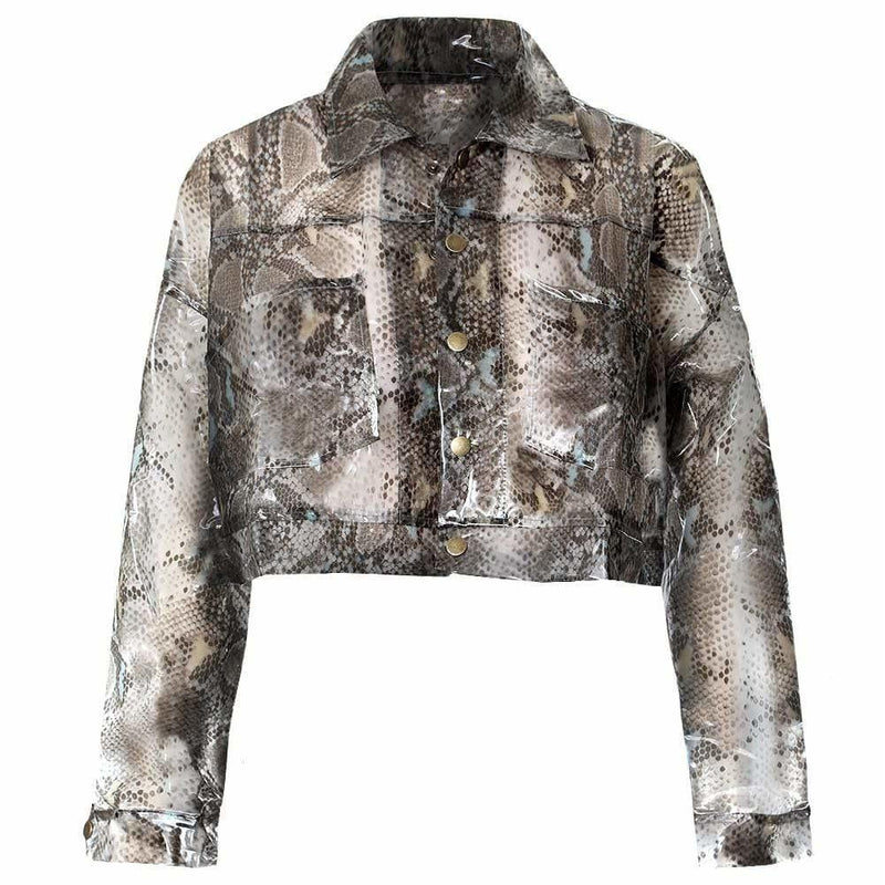 Posh Shoppe: Plus Size Vinyl Snake Print Crop Jacket Outerwear