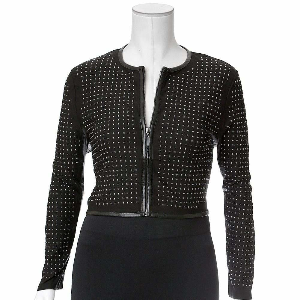 Posh Shoppe: Plus Size Studded Cropped Jacket, Silver Outerwear