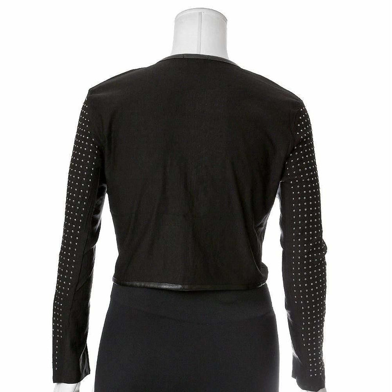 Plus Size Studded Cropped Jacket, Silver