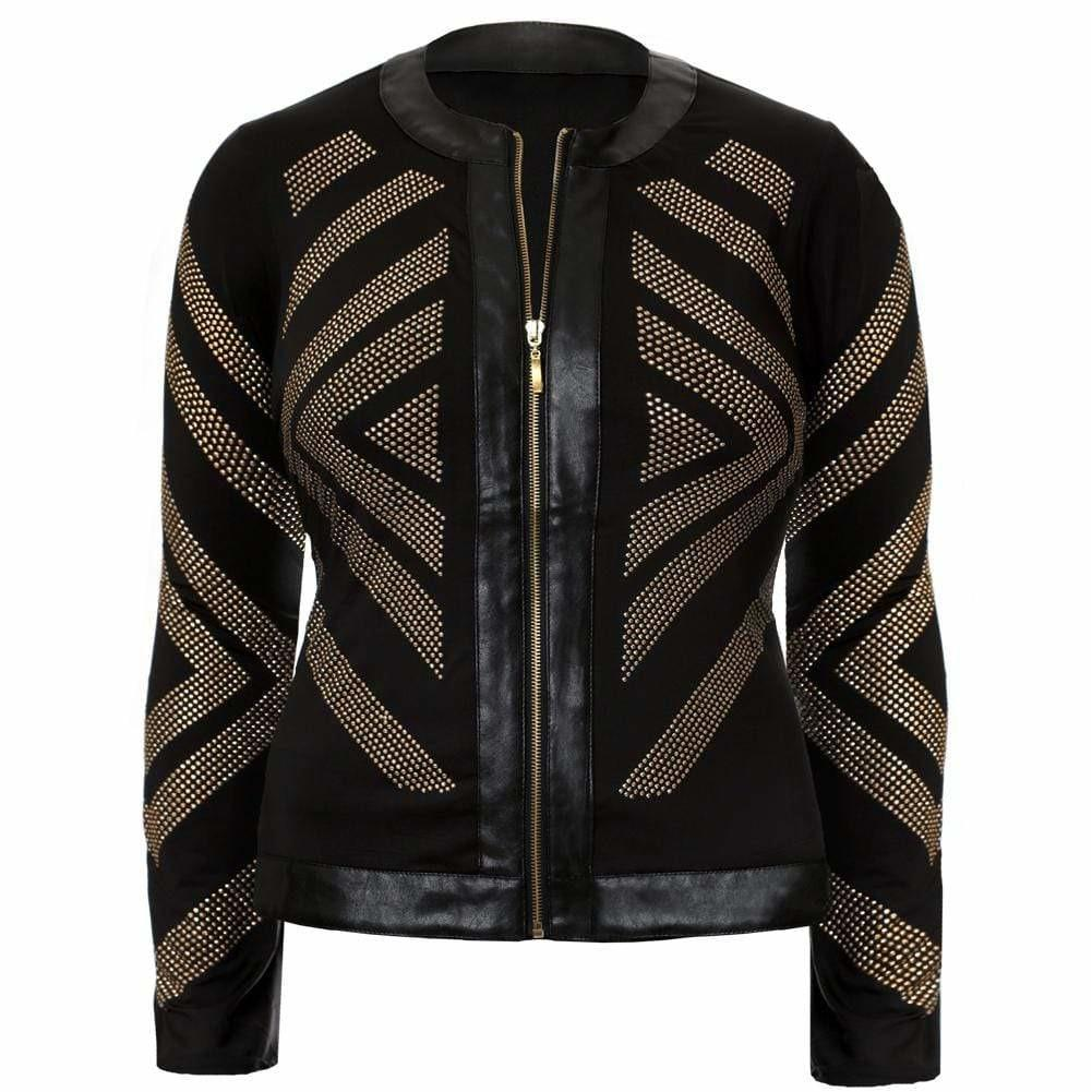 Posh Shoppe: Plus Size Chevron Studded Jacket, Gold Outerwear
