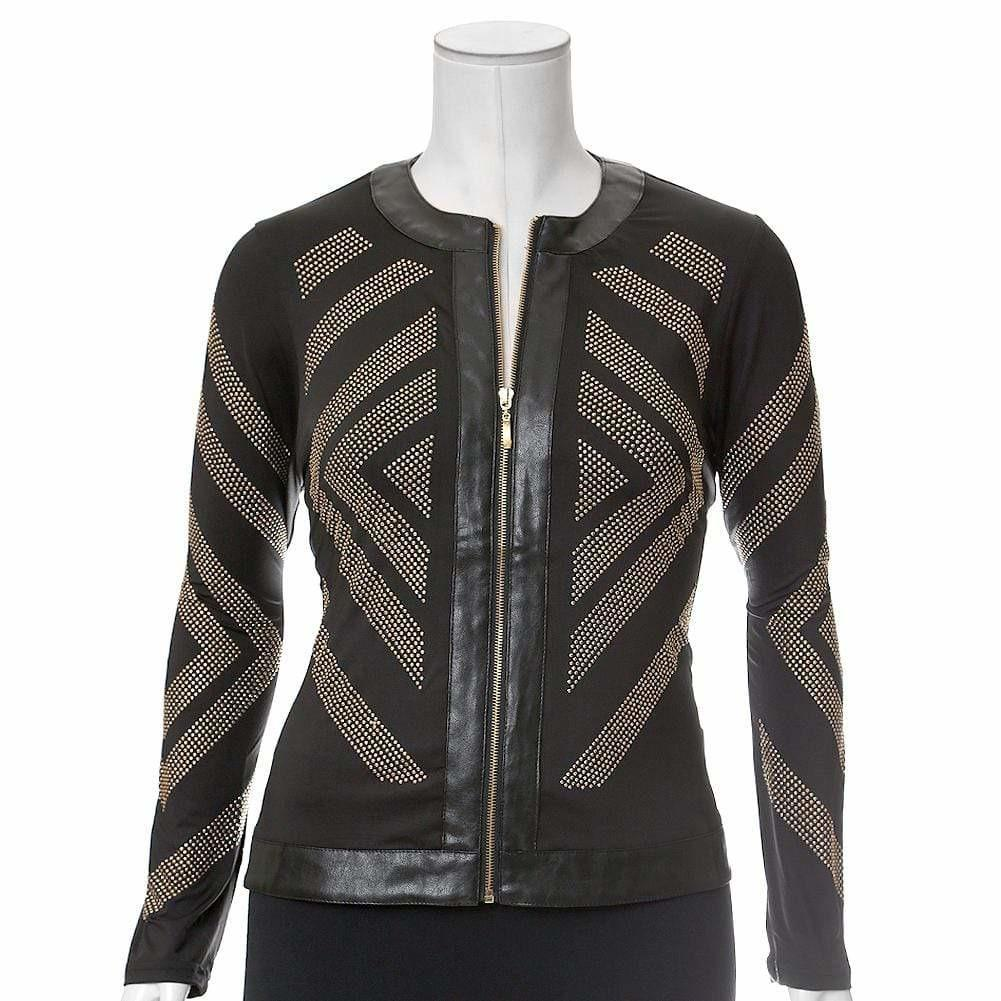 Plus Size Chevron Studded Jacket, Gold