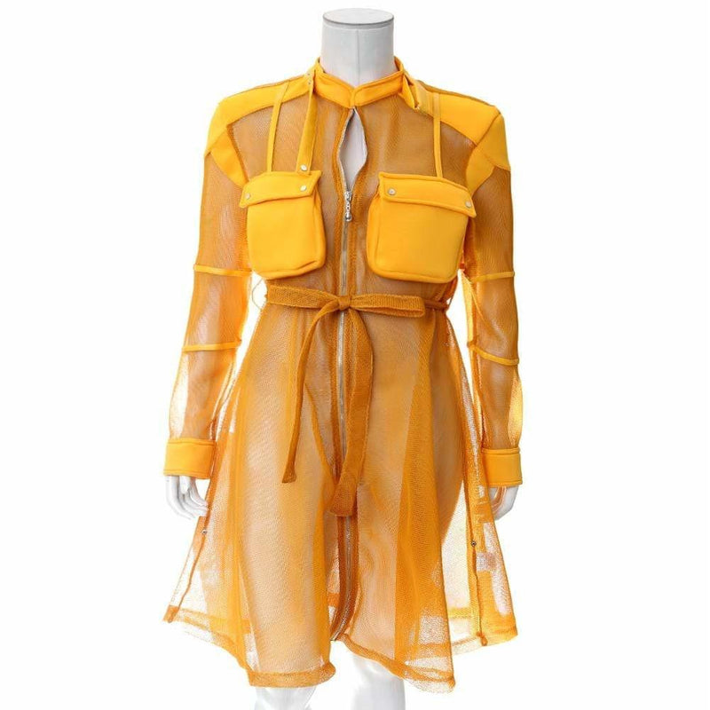 Posh Shoppe: Plus Size Convertible Mesh Coat, Mustard Outerwear