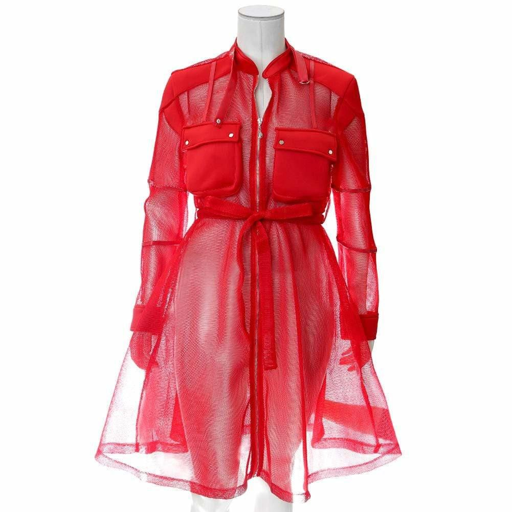 Plus Size Convertible Mesh Coat, Red