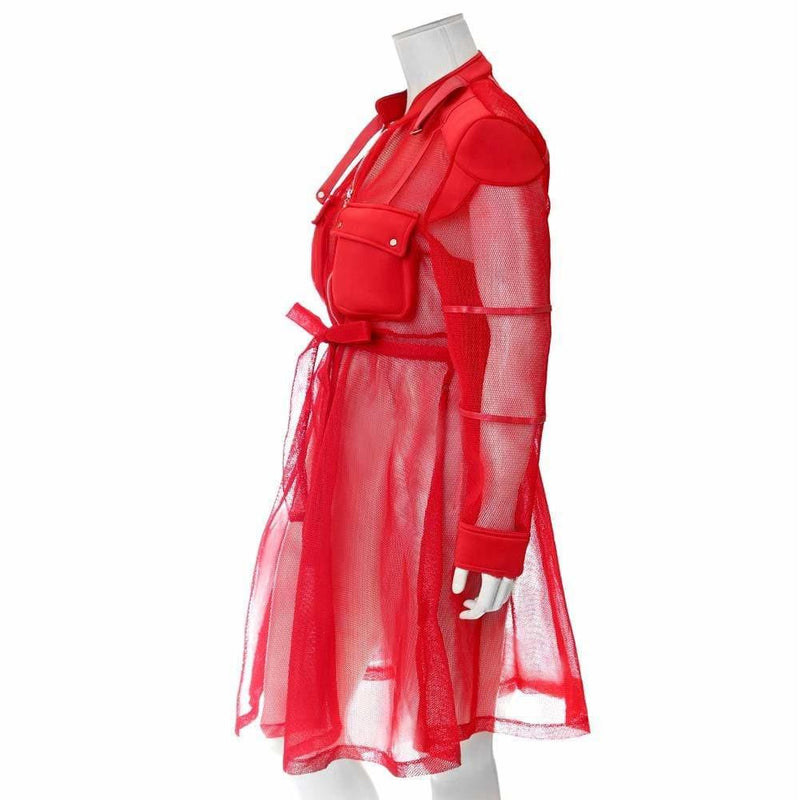 Posh Shoppe: Plus Size Convertible Mesh Coat, Red Outerwear