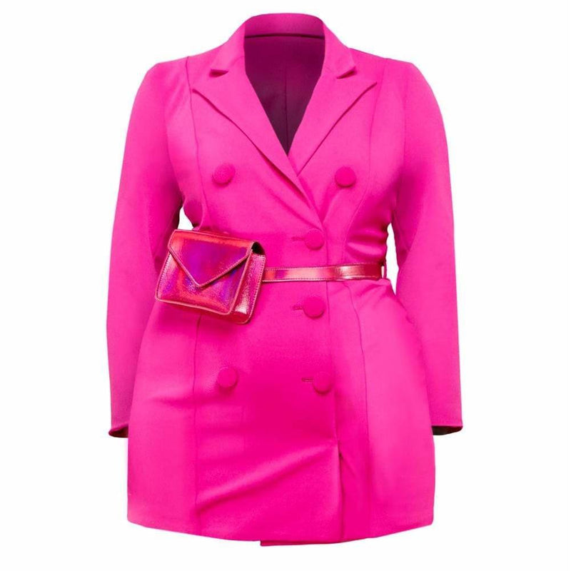 Posh Shoppe: Plus Size Double Breasted Blazer Mini Dress with Belt Outerwear