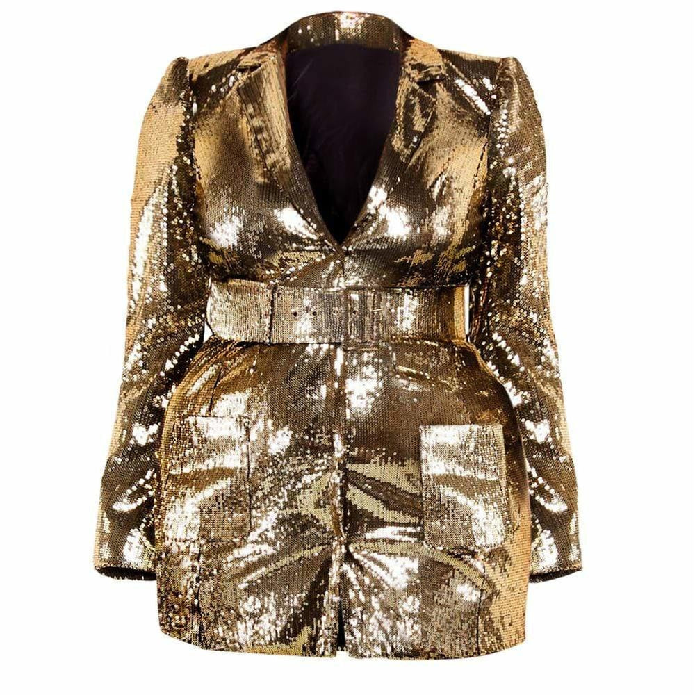 Posh Shoppe: Plus Size Gold Sequin Belted Mini Blazer Dress Outerwear