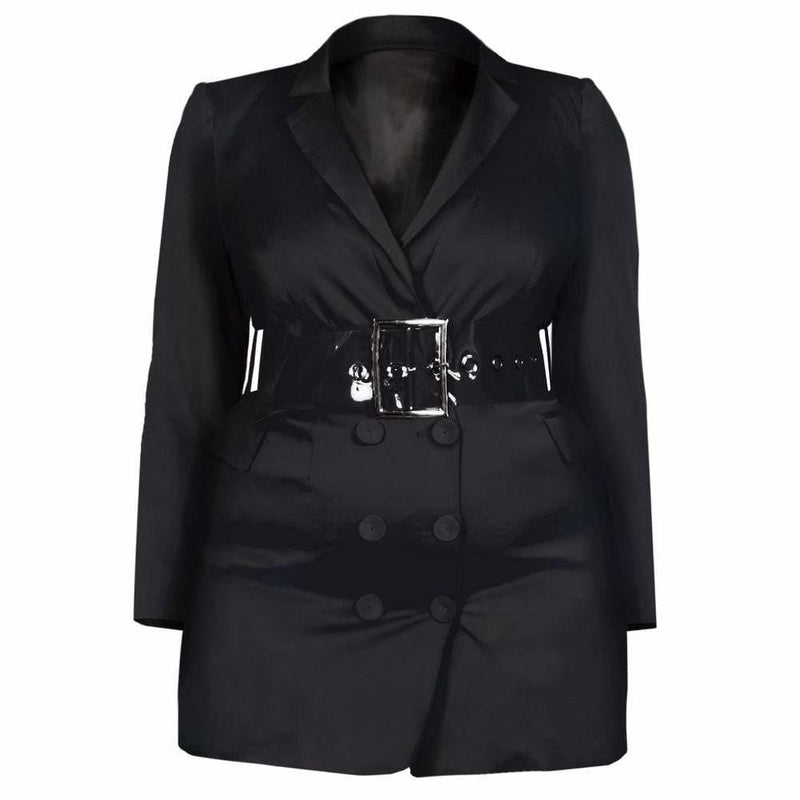 Posh Shoppe: Plus Size Tuxedo Jacket Mini Dress, Black Sateen Outerwear