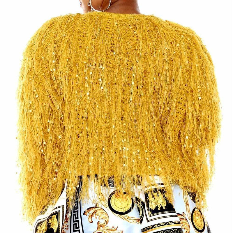 Posh Shoppe: Plus Size Tassels and Tinsels Sweater Jacket, Mustard Outerwear