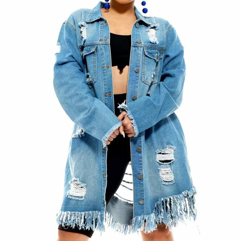 Plus Size Distress Denim Jacket