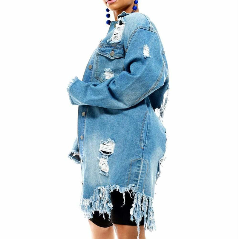 Posh Shoppe: Plus Size Distress Denim Jacket Outerwear