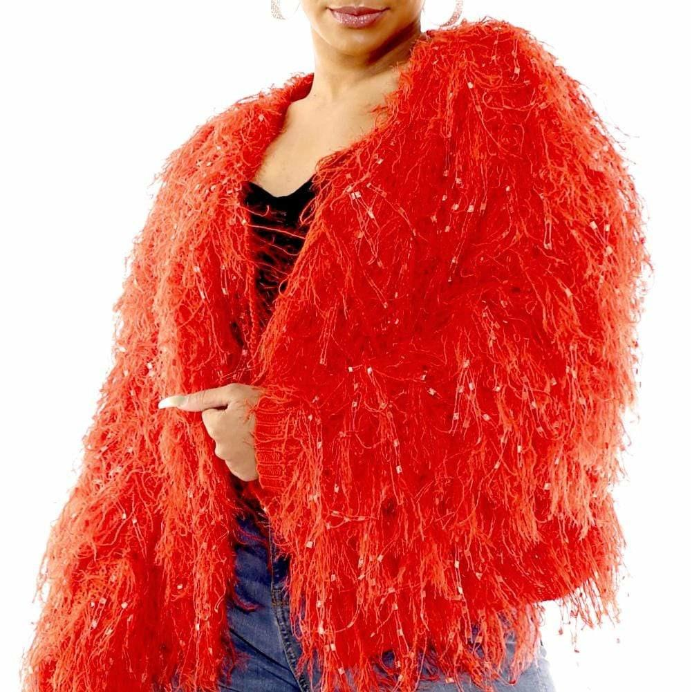 Posh Shoppe: Plus Size Tassels and Tinsels Sweater Jacket, Firebird Outerwear