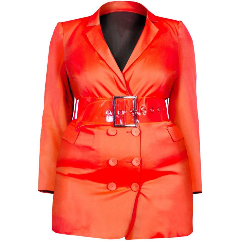 Posh Shoppe: Plus Size Tuxedo Jacket Mini Dress, Coral Sateen Outerwear
