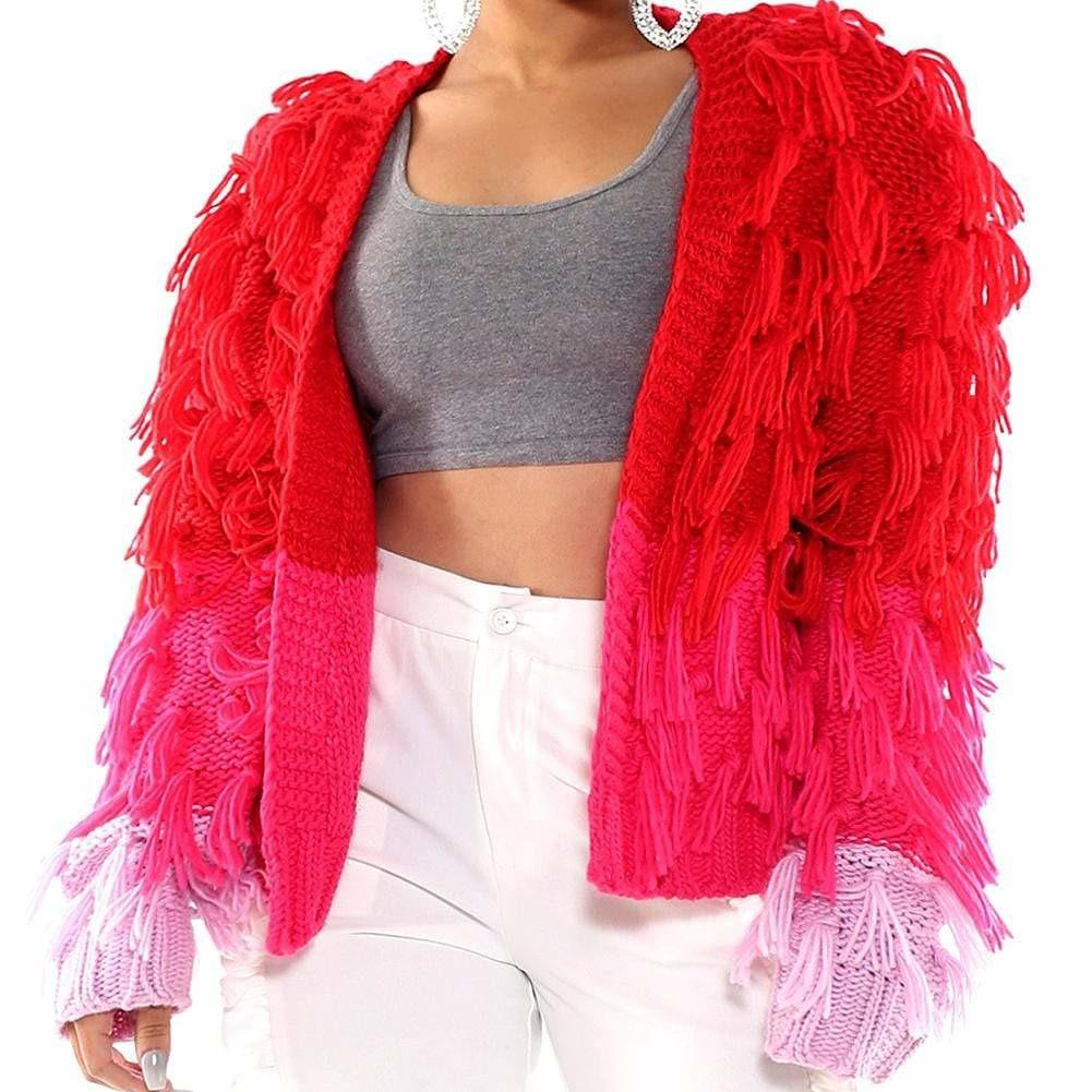 Plus Size Shaggy Sweater Jacket, Red & Pink Ombre