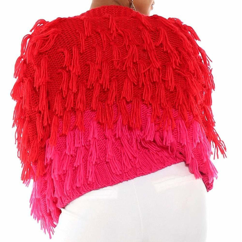 Posh Shoppe: Plus Size Shaggy Sweater Jacket, Red & Pink Ombre Outerwear