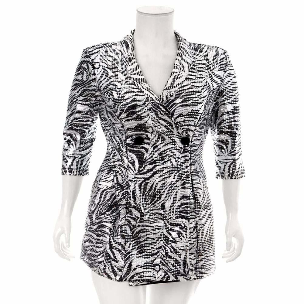 Posh Shoppe: Plus Size Mid Length Blazer, Silver Animal Print Outerwear