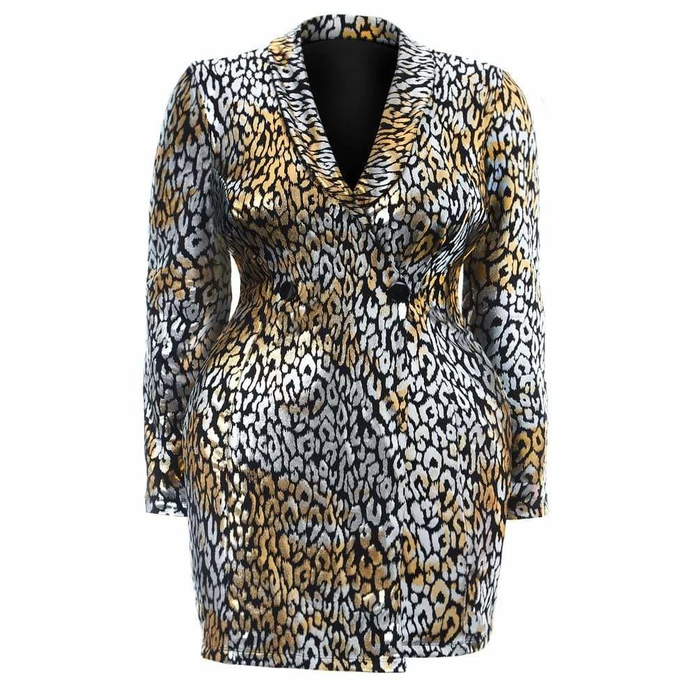 Posh Shoppe: Plus Size Mid Length Blazer, Gold & Silver Print Outerwear