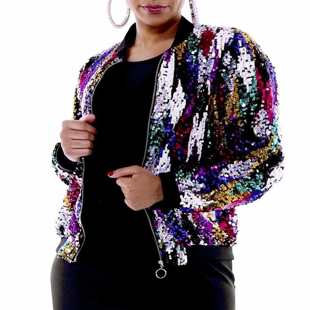 Posh Shoppe: Plus Size Sequin Bomber Jacket Outerwear