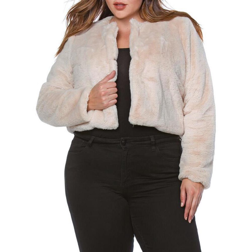Plus Size Cropped Faux Fur Jacket