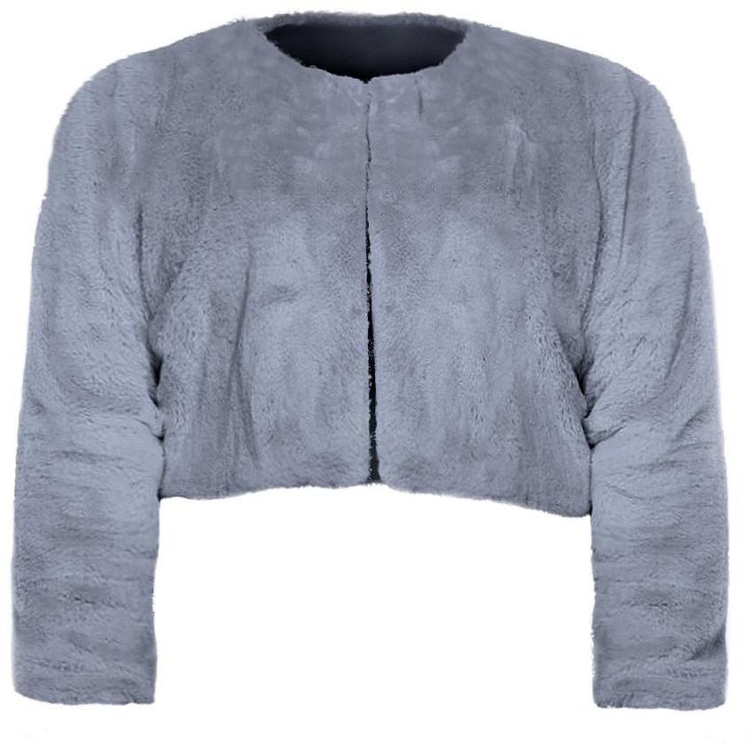 Plus Size Cropped Faux Fur Jacket, Gray