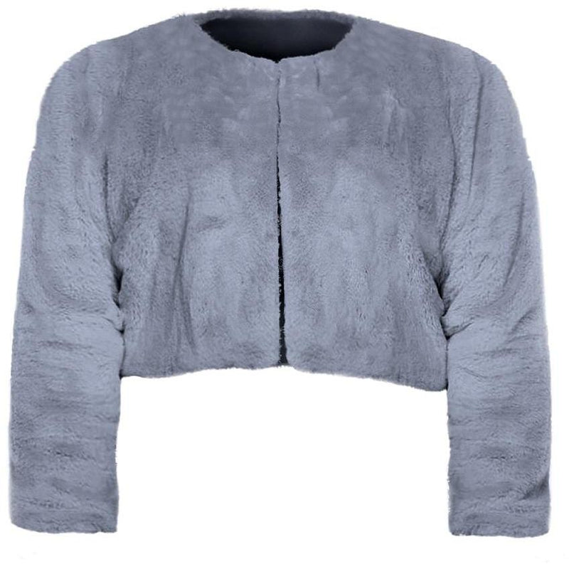 Posh Shoppe: Plus Size Cropped Faux Fur Jacket, Gray Outerwear