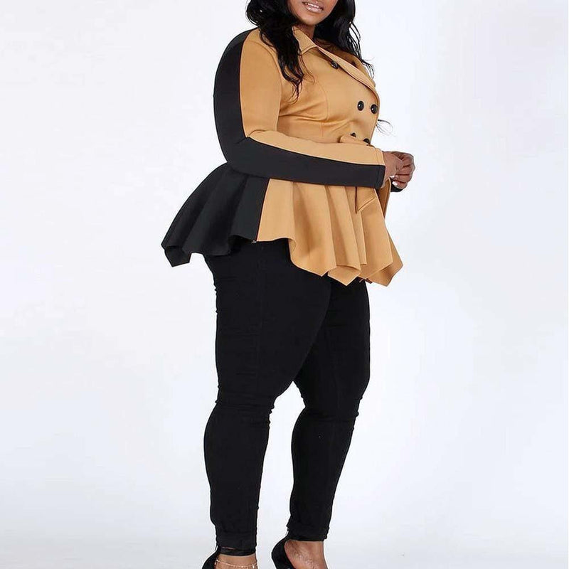 Posh Shoppe: Plus Size Peplum Colorblock Trench, Tan & Black Outerwear