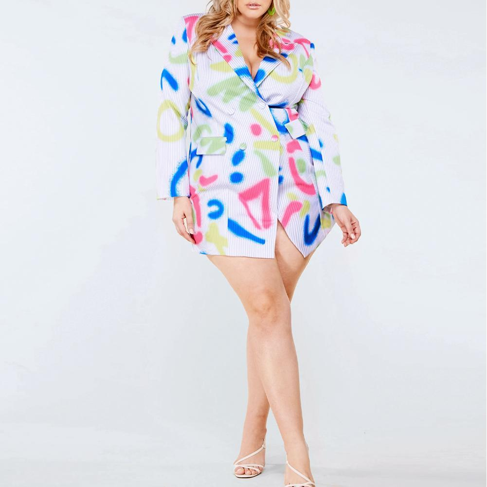 Plus Size Blazer Dress, Pinstripe & Graffiti Print