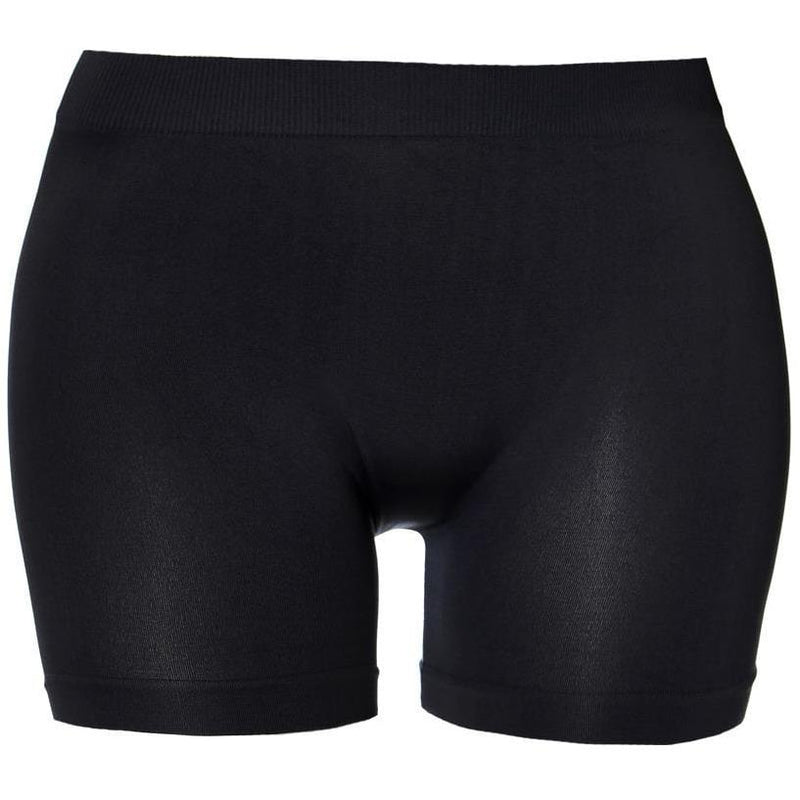 Posh Shoppe: Plus Size Seamless Opaque Shorts, Black Bottoms